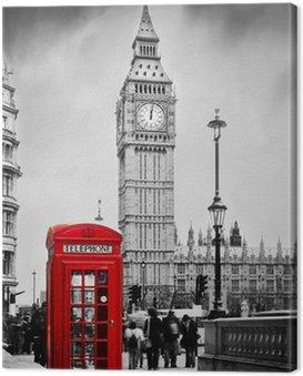 Obraz na Płótnie Czerwona budka telefoniczna i Big Ben w Londynie, Anglii, Wielkiej Brytanii