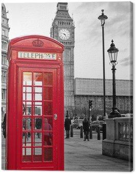 Obraz na Płótnie Czerwona budka telefoniczna w Londynie z Big Ben w czerni i bieli