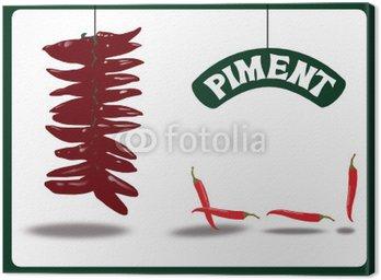 Obraz na Płótnie Czerwona papryka, Espelette lub cayenne, ziele angielskie, pieprz chili