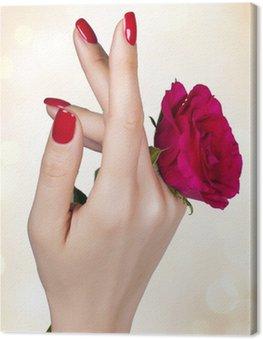 Obraz na Płótnie Czerwony manicure na ręce kobiety z czerwonych róż.