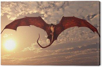 Czerwony smok Atakowanie z zachodem słońca niebo
