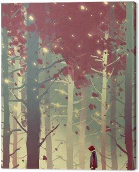 Człowiek stojący w pięknym lesie z opadających liści, ilustracja malarstwo
