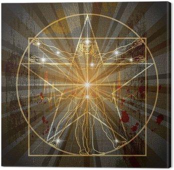Obraz na Płótnie Człowiek witruwiański wpisanych w średniowiecznej Pentagram Mystic