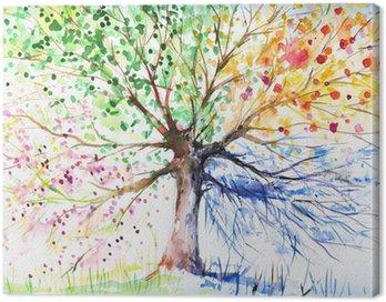 Obraz na Płótnie Cztery pory roku drzewo