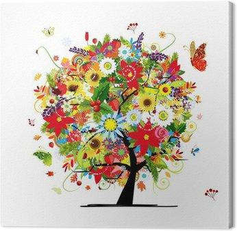 Obraz na Płótnie Cztery pory roku. Koncepcja Drzewo sztuki dla projektu