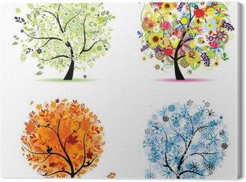 Obraz na Płótnie Cztery pory roku - wiosna, lato, jesień, zima. drzewa sztuki