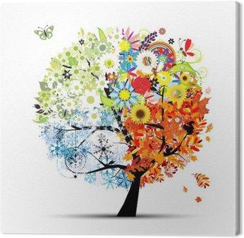 Obraz na Płótnie Cztery pory roku - wiosna, lato, jesień, zima. Drzewo sztuki