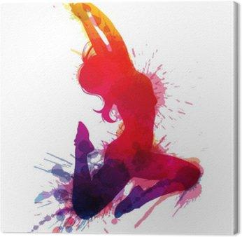 Obraz na Płótnie Dancing girl z grungy plamy