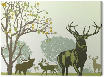 Obraz na Płótnie Deer i gra w jesieni