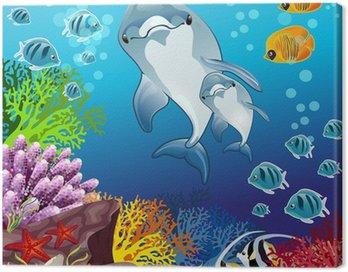 Obraz na Płótnie Delfiny na dnie morza