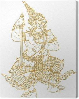 Obraz na Płótnie Demon Strażnik Tradycyjny tajski sztuki. Lined konstrukcja Vector templat