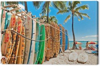 Obraz na Płótnie Deski surfingowe w stojaku na Waikiki Beach - Honolulu