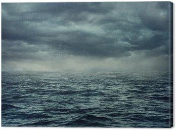 Obraz na Płótnie Deszcz nad wzburzonym morzu