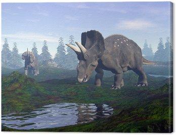 Obraz na Płótnie Diceratops dinozaurów w góry - 3D render