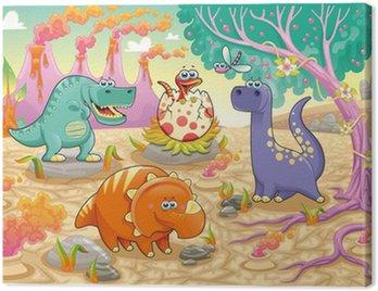 Dinozaurów w prehistoryczne krajobrazu. ilustracji wektorowych