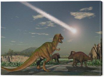 Obraz na Płótnie Dinozaury oglądać upadek asteroidy