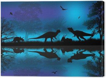 Dinozaury sylwetki na niebieskim nocy