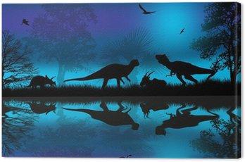 Obraz na Płótnie Dinozaury sylwetki na niebieskim nocy