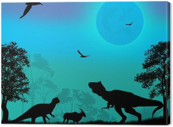 Obraz na Płótnie Dinozaury sylwetki
