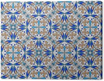 Obraz na Płótnie Dobra kolorowe orientalne dywan lub ozdoba ceramiczne w kolorze pomarańczowym i niebieskim z białymi krzywych na czarnym tle, wektor symetryczne wzory geometryczne