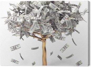 Obraz na Płótnie Dolar rośnie na drzewie, drzewa pieniędzy na białym tle