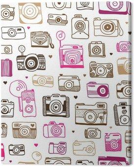 Doodle powtarzalne wzór aparat fotograficzny w wektorze