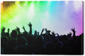 Obraz na Płótnie Doping tłumu przed kolorowych świateł scenicznych