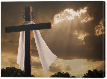 Obraz na Płótnie Dramatyczna oświetlenie na Wielkanoc Krzyża jak burza chmury zerwaniu