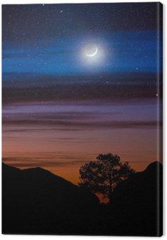 Drzewo sylwetka między wzgórzami pod nocnym niebie i księżyc