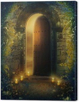 Obraz na Płótnie Drzwi fantazja ZE świecami i bluszczem