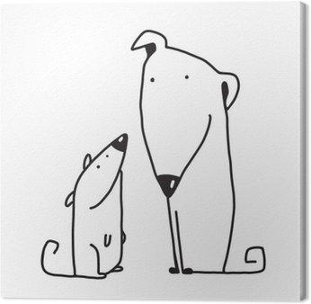 Obraz na Płótnie Dwa cartoon, brązowy pies rodzic i dziecko