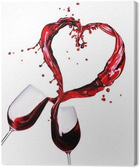 Obraz na Płótnie Dwa kieliszki czerwonego wina plusk abstrakcyjne serca