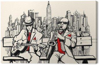 Obraz na Płótnie Dwaj mężczyźni jazzowych grających w Nowym Jorku