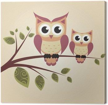 Obraz na Płótnie Dwie sowy na drzewie