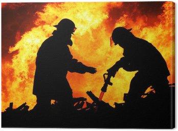 Obraz na Płótnie Dwóch strażaków i ogromne płomienie