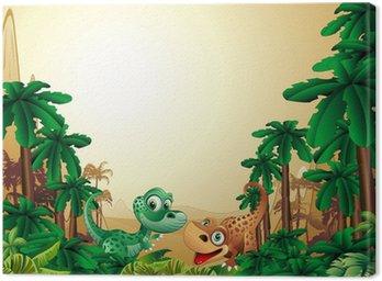 Obraz na Płótnie Dziecko-dziecko dinozaur dinozaury tle tropikalnych tle