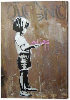 Obraz na Płótnie Dziewczyna malowane na ścianie, Berlin, Niemcy.