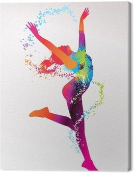 Obraz na Płótnie Dziewczyna tańczy z kolorowymi plamami i odpryskami na bac światła