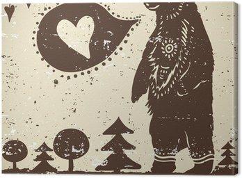 Dziki niedźwiedź zwierzęcy tło na tle grunge z sercem