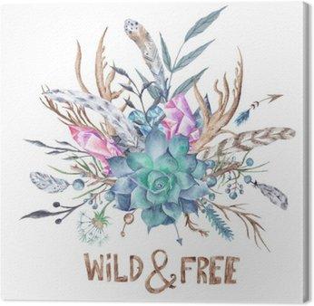 Obraz na Płótnie Dzikie i Boho bezpłatny Akwarela Ilustracja