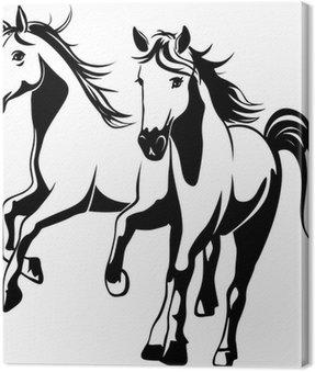 Obraz na Płótnie Dzikie konie - czarno-białych ilustracji wektorowych