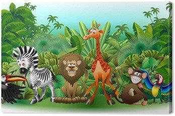 Obraz na Płótnie Dzikie zwierzęta Dzikie zwierzęta cartoon jungle-background-wektor