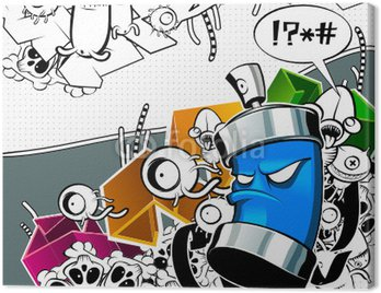 Obraz na Płótnie Dziwny obraz graffiti puszki