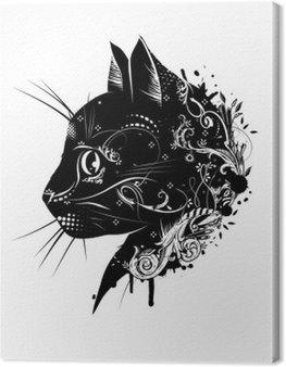 Obraz na Płótnie Ein kwiatowy verzierter Kopf einer Katze .__ Katzenkopf im Scherenschnitt Stil__