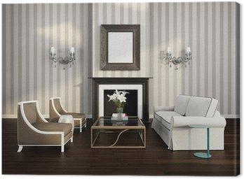 Elegancki luksusowy paski salon z kominkiem i kanapą