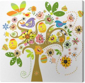 Obraz na Płótnie Elementy wielkanocne na drzewo