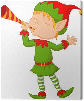 Obraz na Płótnie Elf kreskówki z trąbką