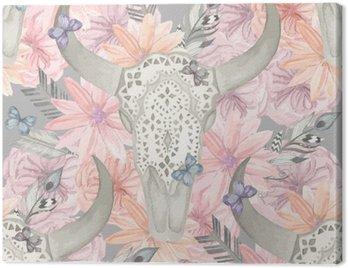 Obraz na Płótnie Etniczne szwu. Czaszka byka w kwiatach