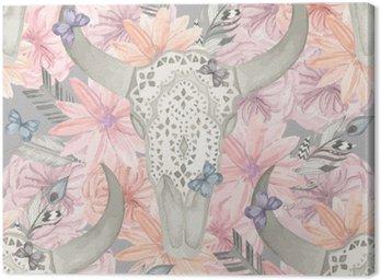 Etniczne szwu. Czaszka byka w kwiatach