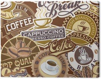 Obraz na Płótnie Etykiety powtarzalne wzór kawy